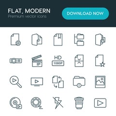 Modern Simple Set of folder, video, photos, files Vector outline Icons. ..Contains such Icons as  music,  file,  background,  modern, file and more on white background. Fully Editable. Pixel Perfect