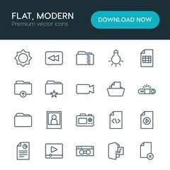 Modern Simple Set of folder, video, photos, files Vector outline Icons. ..Contains such Icons as  old,  office,  design,  vhs,  flash,  file and more on white background. Fully Editable. Pixel Perfect