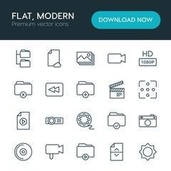 Modern Simple Set of folder, video, photos, files Vector outline Icons. ..Contains such Icons as  background,  icon, network,  cd,  disk, hd and more on white background. Fully Editable. Pixel Perfect