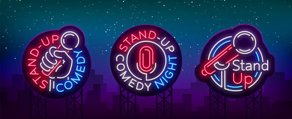 Stand Up Comedy Show is a collection of neon signage. Collection of neon logos, a symbol, a bright light banner, a neon-style poster, bright night-time advertising Stand up the show. Vector