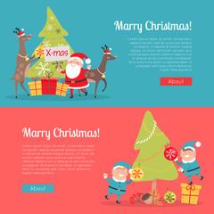 Elves in Santa Suit and Deer Helper Decorate Tree