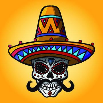 Maxican sugar skull with sombrero