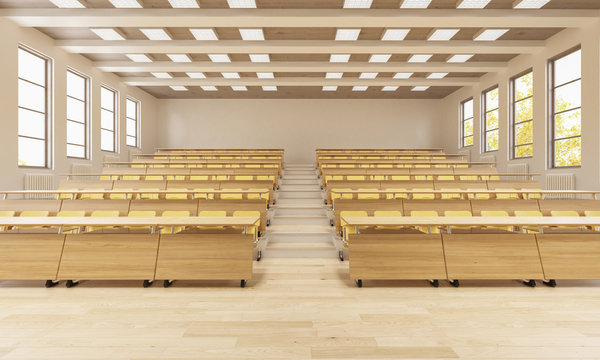 3D Rendering of a University Classroom Front View
