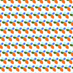 ilustración de fondo con  pequeñas flores abstractas con cuatro hojas de colores azul, celeste,naranja y verde  en un fondo blanco