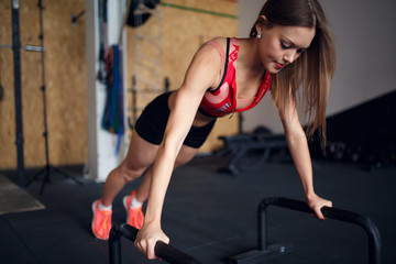 Picture of sports woman pushing