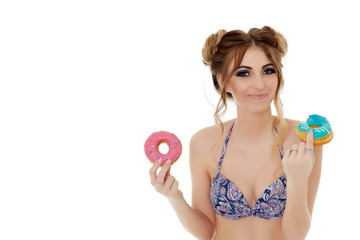 Young woman with donuts.