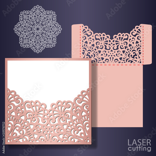 Quot Die Laser Cut Wedding Card Vector Template Invitation