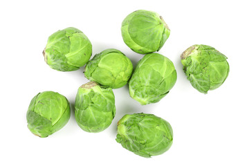Canvas Prints Brussels Brussels sprouts isolated on white background closeup. Top view. Flat lay