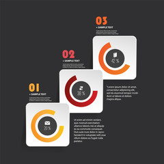 Colorful Modern Paper Cut Style Infographics Design - Set of Minimalist Geometric Shapes, Round Squares and Pie Charts with Icons