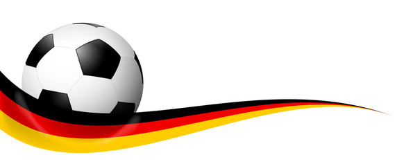 soccer ball behind german banner