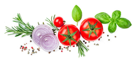 Fresh Red Tomato with Basil leaf, spices and herbs isolated on white background, close up. Food Ingredients top view. Wall mural