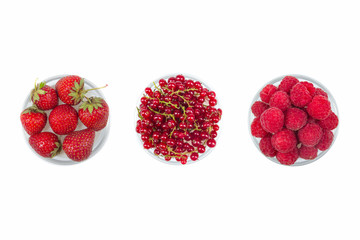 Fresh cherry, currant, raspberries on plate on Isolated white background. fresh ripe cherries. sweet cherries. Berries