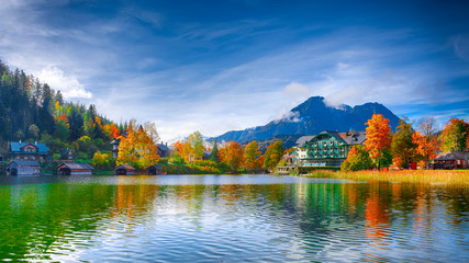 Picturesque autumn scene of Altausseer See lake