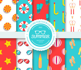 collection set of summer vacation seamless pattern. Beach umbrella, lifebuoy, diving, equipment, towel, ocean with label logo concept. Vector abstract template for greeting card or invitation