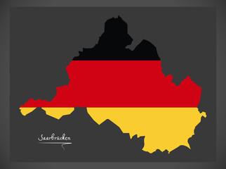 Saarbrucken map with German national flag illustration