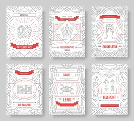 Set of thin line technical minds pattern concept. Art physics and mathematics equipment, magazine, book, poster, abstract, banner, element. Vector outline package greeting card or invitation brochure