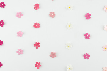 Pink tone paper flowers horizontal pattern on white background with copy space round copy space in center
