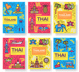 thailand thin line brochure cards set. Country template of flyear, magazines, posters, book cover, banners. Vector outline invitation concept background. Layout architecture modern pages