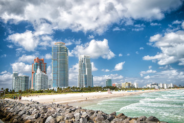 South Beach view from the pier, Miami Beach in Florida famoust tourist atraction. Aerial view of South Pointe Park and Pie