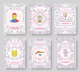 Circus thin line brochure cards set. Festival template of flyear, magazines, posters, book cover, banners. Vector outline invitation concept background. Layout funny elements modern pages