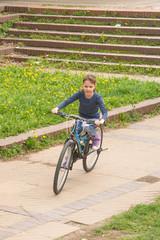 Girl rides a bike