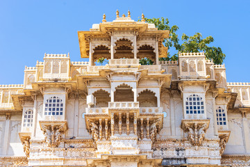 Detail of Udaipur city palace. Wall mural
