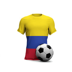 Colombia soccer shirt with national flag and football ball. 3D Rendering