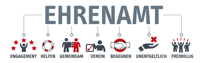 Banner Ehrenamt Vektor Illustration mit icons