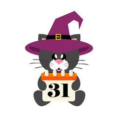 cartoon cute cat black sitting with tie  in hat and halloween calendar