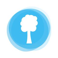 Weißer Baum auf hellblauem Button