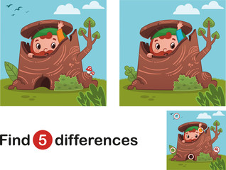 Find 5 differences education game for children, gnome in the nature.(Vector illustration)