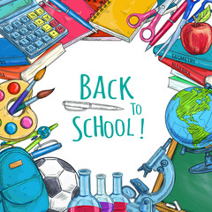 Back to School vector sketch statonery poster