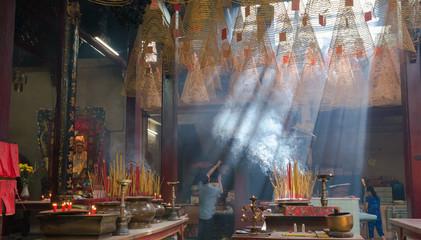 Incense coils in historic Tin Hau Temple, Yau Ma Tei, Kowloon, Hong Kong, China
