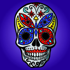 hand drawn mexican sugar skull with colorful butterfly pattern on the face as isolated vector file