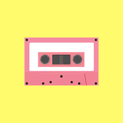 Tape cassette pink color on yellow background.