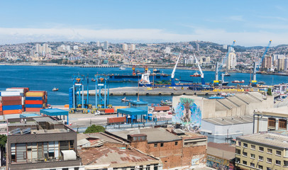The busy cargo seaport in South America in Valparaiso, Chile. It is the most important seaport in Chile.