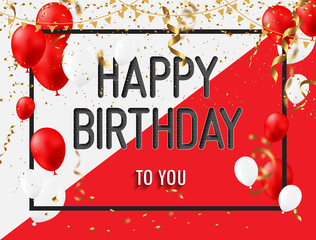 Happy Birthday Greeting Card with red white balloons and happy birthday.