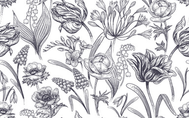 Seamless pattern with spring flowers.
