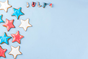 American USA Independence Day background concept, star cookies blue, red, white, July 4,light blue background copy space