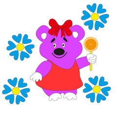 Cartoon beautiful bear with a bow holding a slice of orange in his paw.