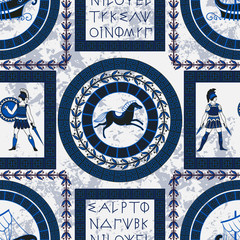 Seamless pattern with ancient greek letters, horses, fighting people and ornament. Traditional ethnic background. Vintage vector illustration