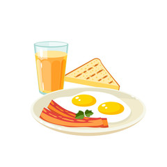 Breakfast, delicious start to the day. Plate with fried eggs and slices of bacon, glass of fresh orange juice and toast. Vector illustration cartoon flat icon isolated on white.