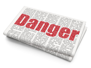 Protection concept: Pixelated red text Danger on Newspaper background, 3D rendering