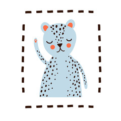 Cute wild cat,  Vector greeting card