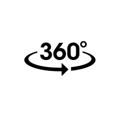 Icon vector of 360-degree app for 360-area view and circular arrows.