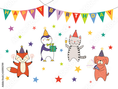 Hand Drawn Happy Birthday Greeting Card Banner Template With Cute Funny Cartoon Animals Celebrating