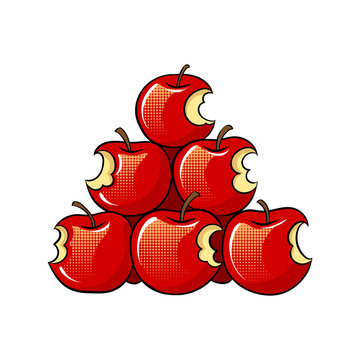 Bitten apples sale pop art vector illustration