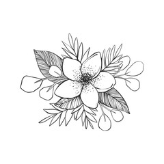 Black and white flowers tattoo. Hand drawn vector drawing.