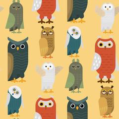 Cartoon owl bird cute character sleep sweet owlet seamless pattern background vector illustration.