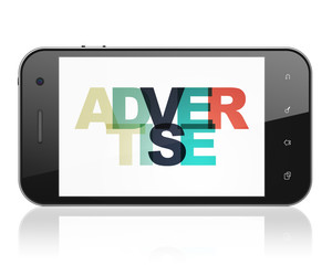 Advertising concept: Smartphone with Painted multicolor text Advertise on display, 3D rendering